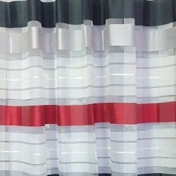 Перде BLOOM полуплътно червени крем черни ивици